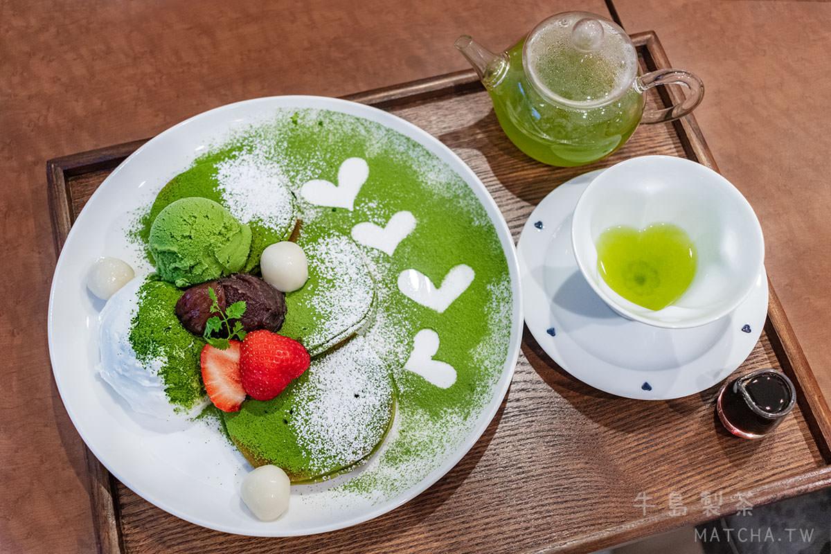 八女玉露甜點|牛島製茶。期間限定鬆餅,心型濃戀茶